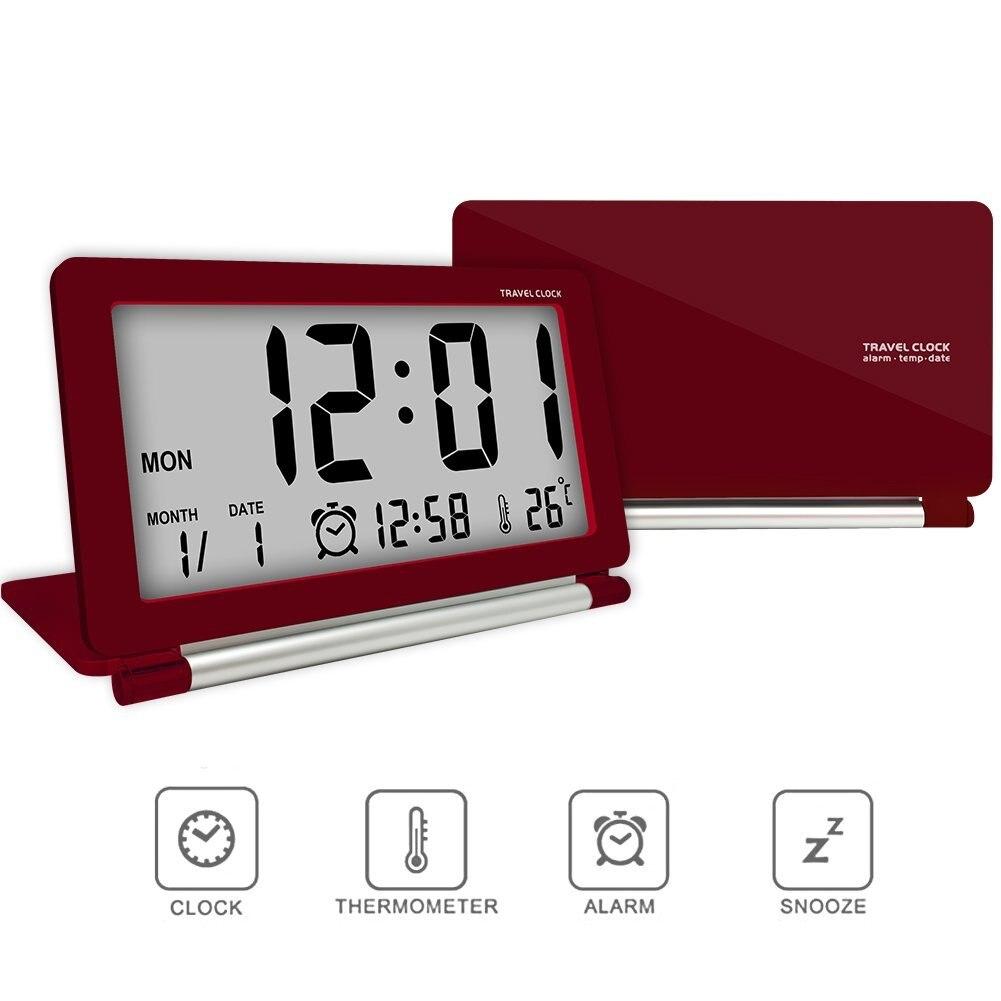 Electronic Travel Alarm Clock Multifunction LCD Digital Large Screen Slim Folding Clock With Temperature Date Time Calendar