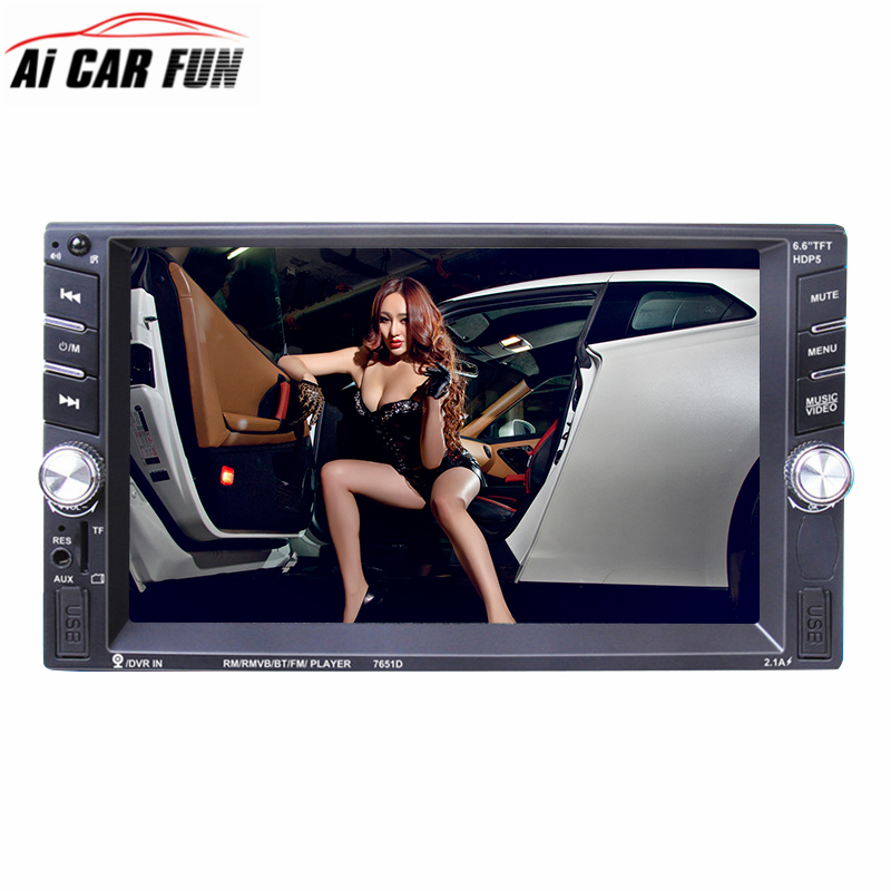 2 din Car Radio Player Autoradio 6.6'HD Touch Screen Bluetooth Rear View Camera Stereo FM/MP3/MP5/Audio/USB Auto Electronics цена