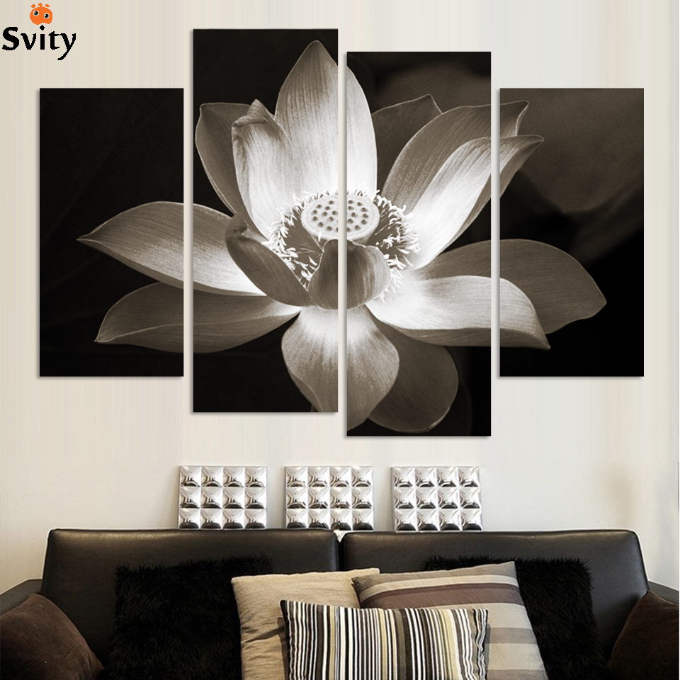 4panels Black And White Simple Lotus Flower Modern Wall Art Home