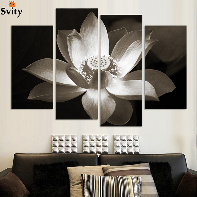 4panels black and white simple lotus flower Modern wall art home ...