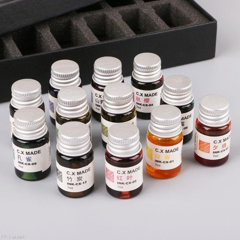 12pcs Gold Powder Colored Bottled Glass Dip Pen Ink For Fountain Dip Pen Set Fountain Writing Signature Box Gift 7ML Free Ship lnk6764v dip 11