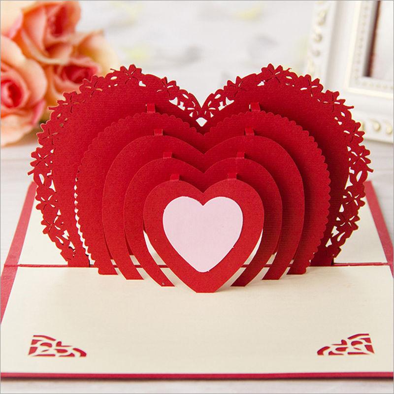 Romantic Design 3d Overlap Heart Shape Handmade Invitations Greeting