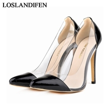 Customize Red Bottom High Heels Women Pumps Sexy Pointed Toe Transparent Stitching Patent Leather Lady Party OL Shoes NLK-A0047 ol office lady classics women sexy stiletto high heels pumps shoes pointed toe shoes red black wedding party shoes nlk a0092