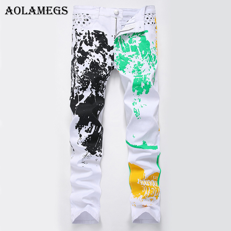 Aolamegs Men Jeans Pants Print Black Green Yellow Pattern White Motorcycle Full Length Trouser Summer Splice Light Denim Fashion