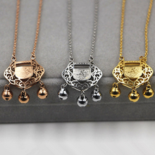 Chinese style Hollow Longevity lock bell Pendants Necklaces ROSE SILVER gold Women stainless steel chains Christmas