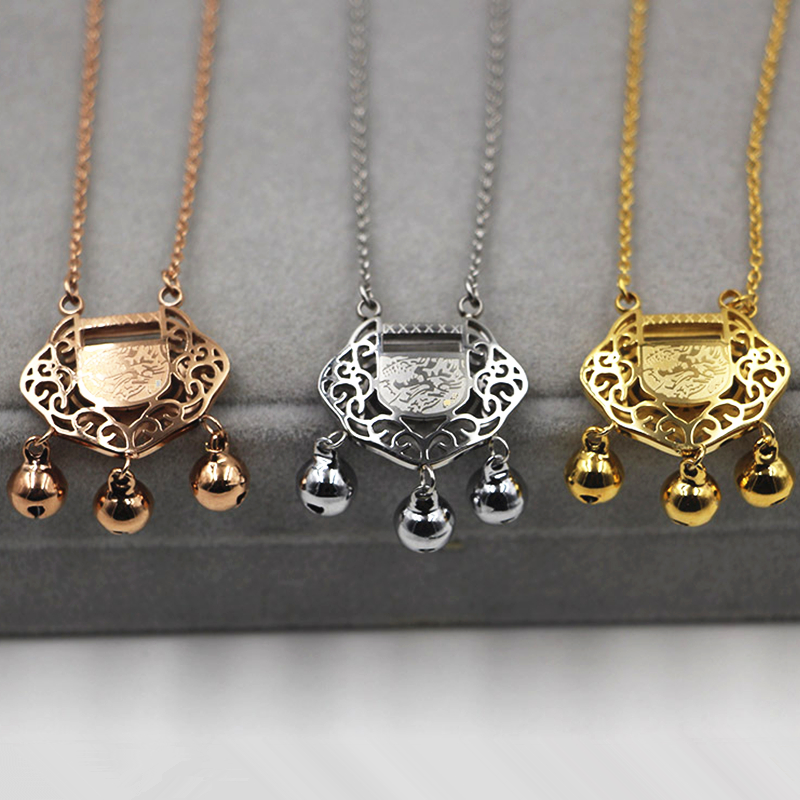 Chinese style Hollow Longevity lock bell Pendants Necklaces ROSE SILVER gold Women stainless steel chains font