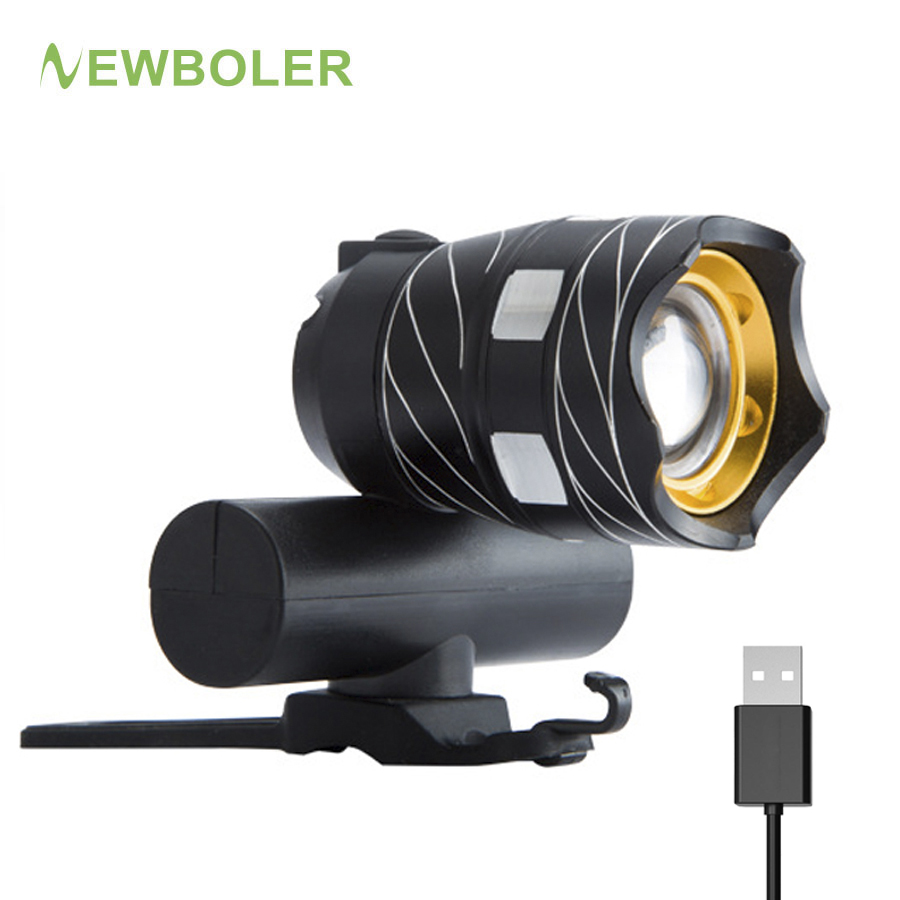 NEWBOLER Zoomable XM-L T6 LED Bicycle Light Bike Front Lamp Torch Headlight with USB Rechargeable Built-in Battery newest usb 8000 lumens flashlight led cree xm t6 l2 front torch bicycle light lamp with usb charger bike clip