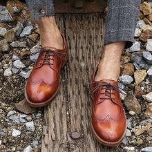 QYFCIOUFU Fashion Blake brogue shoes men Handmade Genuine Calf Leather vintage formal shoes Wedding Office Derby Men dress shoes