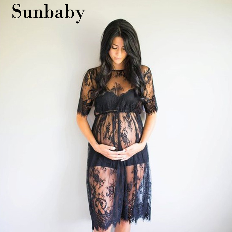 2017 Summer Fashion maternity Sexy Lace Floral pregnancy dress photography clothes for pregnant women stereoscopic beads floral lace maternity dresses hollow out summer autumn fashion lose pregnancy splicing clothing