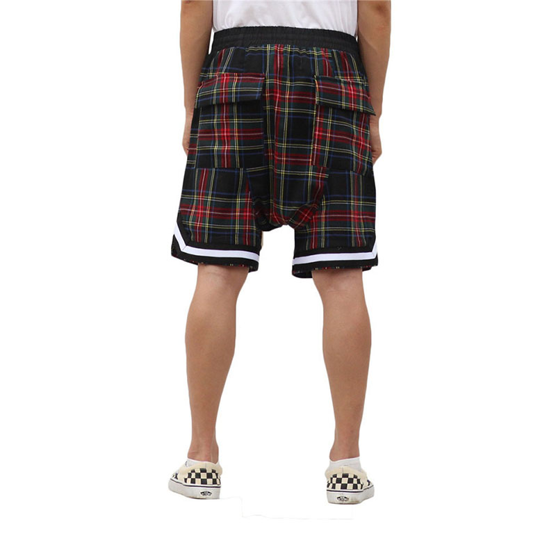 Men's Scottish Plaid Shorts Oversized Justin Bieber Streetwear Mesh Tartan Drop Crotch Shorts Side Zip Stretch Waist Knee Length