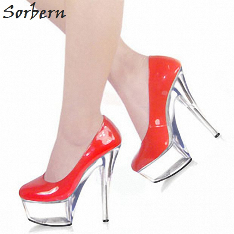 Sorbern Sexy Transparent Spike High Heels Round Toe Slip On Club Heels Black Patent Pumps Women High Heels Shoes Clear Platforms 2017 shoes women med heels tassel slip on women pumps solid round toe high quality loafers preppy style lady casual shoes 17