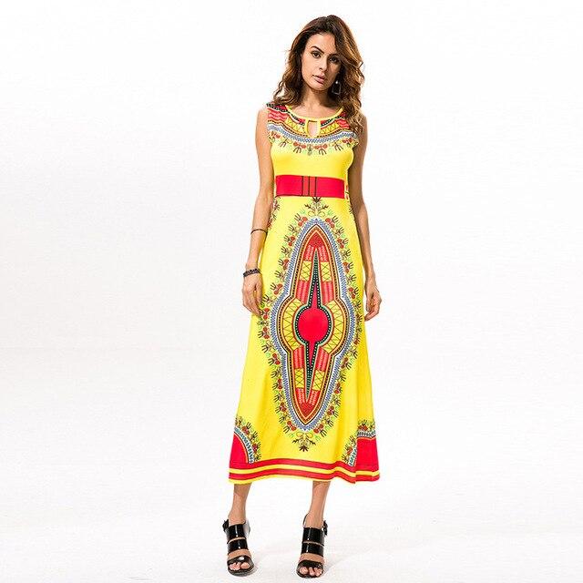 Female Attire Women Summer Casual Bohemian Vestido Traditional African Print  Long Dress Dashiki Each Dresses Plus Size wholesale 0e2b7bb5b0ae