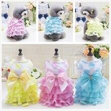 Summer Pet Princess Dog Coat Dress Petticoat Clothing Fashion Pets Skirt Solid Color Cat Clothes Small Bulldog Jacket
