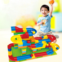 DIY Construction Marble Race Run Maze Balls Track Plastic House Building Blocks Toys For Kids No