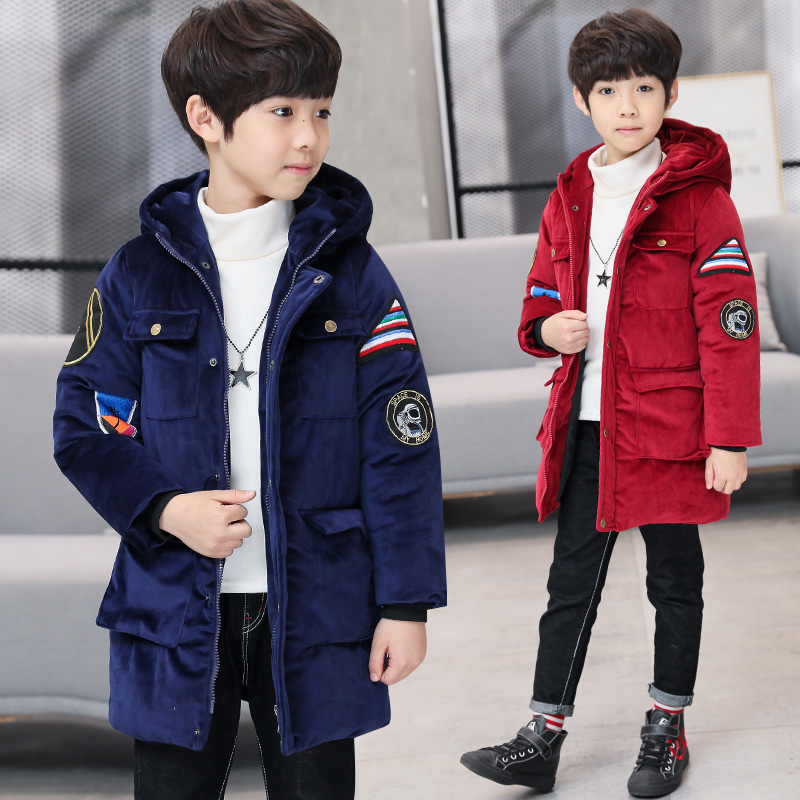 New Arrival 2018 Boys winter warm padded coats thicker big boy fashion long down coat kids hooded winter jacket boutique brand
