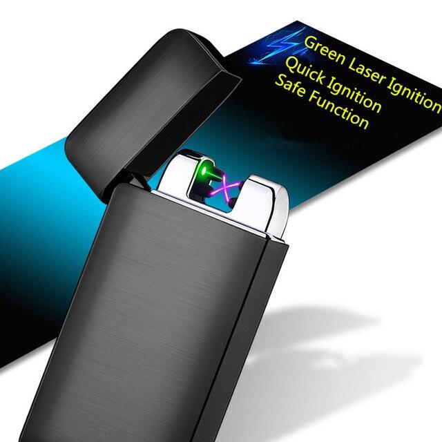 Laser Ignition Usb Electric Lighter For Cigarette Smoking Real Print Dual Arc Plasma Turbo