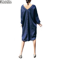 ZANZEA Plus Size Womens Deep V Backless Round Neck Long Sleeve Denim Blue Buttons Solid Loose