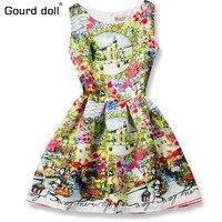 Girl Colorful Dress 2016 Summer Princess Dress Girl Designer Character Painting Kids Dresses For Girls