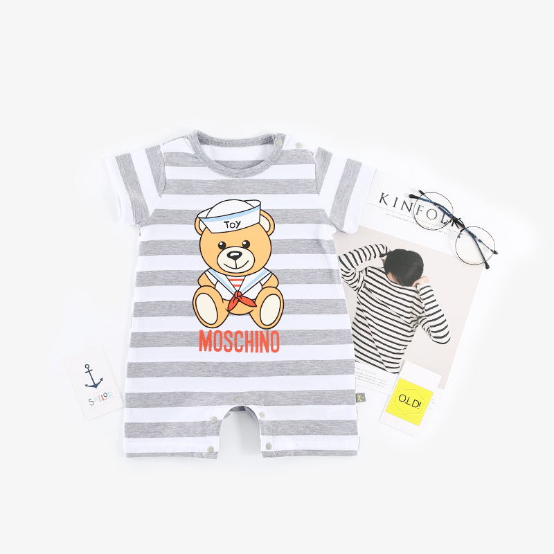 2018 Summer New Fashion Baby Rompers Striped Bear Print Jumpsuits Baby Girls Boys Cothes