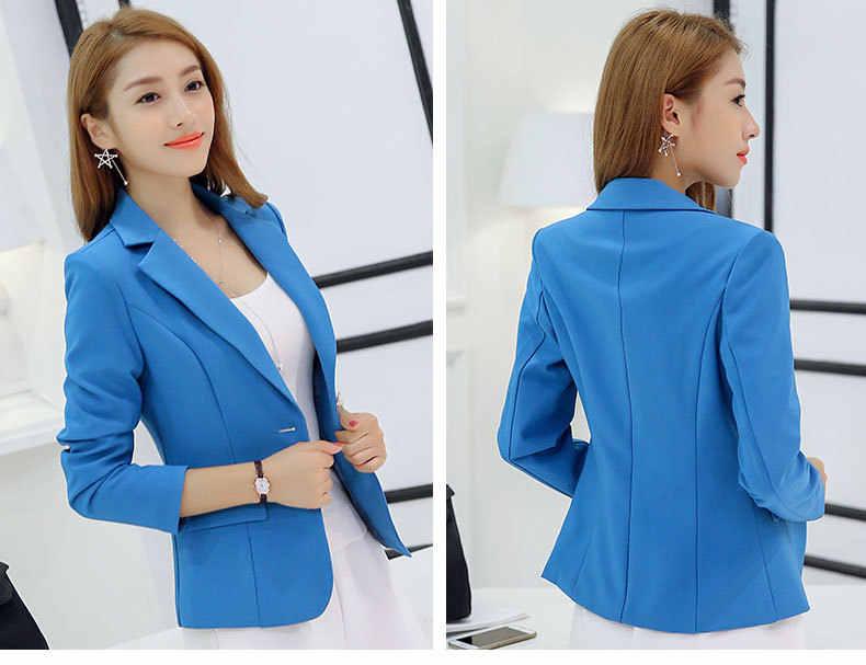 ... Autumn Women Slim Blazer Coat 2016 New Fashion Casual Jacket Long Sleeve  One Button Suit Ladies d09b4189a