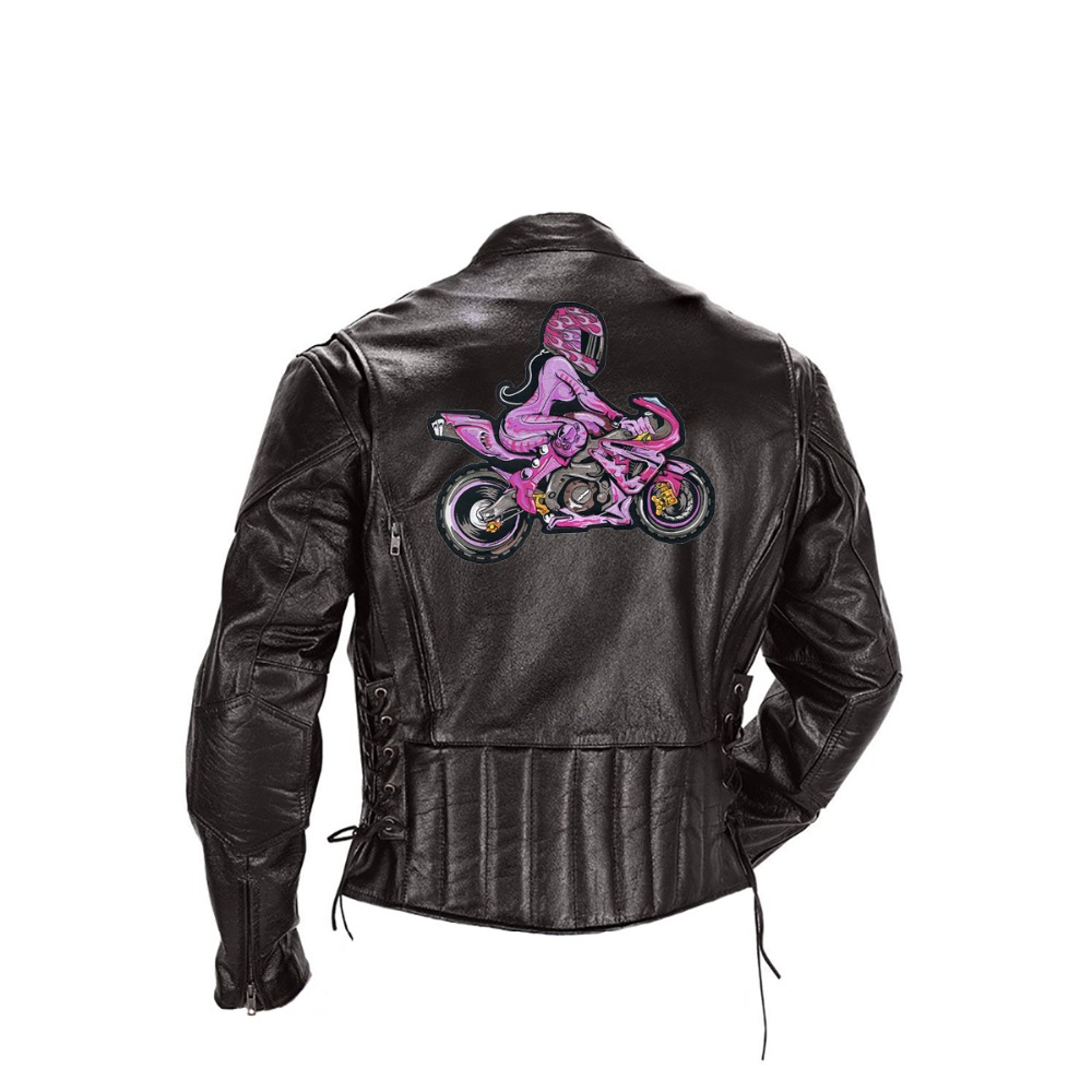 Pink Biker with Pink Girl Rider Embroidered Iron On Back of Jacket Patch Black twill fabric Free Shipping Custom DIY (3)