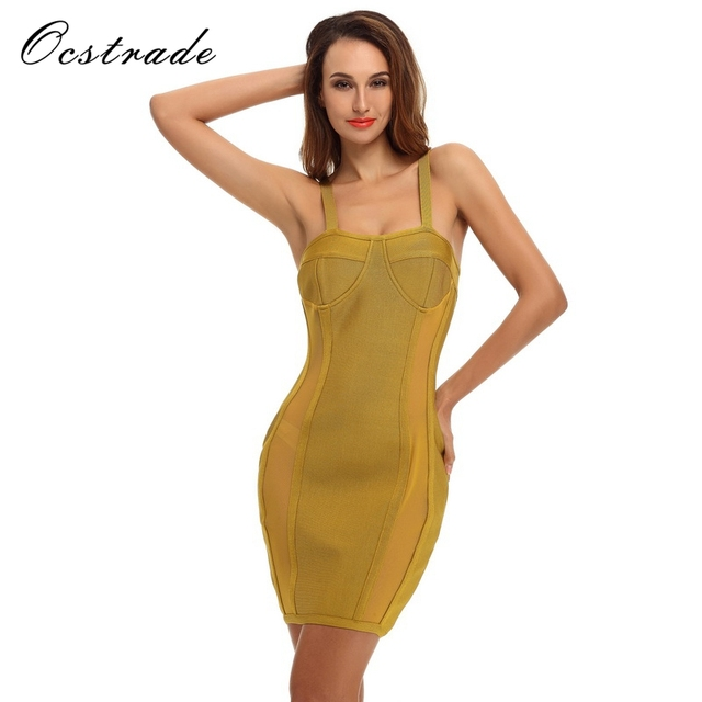 7e545b8cb2a1b US $41.3 45% OFF|Ocstrade Sexy Bandage Dress 2017 New Arrival Women Bustier  Lime Green Sleeveless Bodycon Bandage Dresses Wholesale HL-in Dresses from  ...