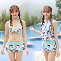 Rhyme Lady Cute Girl Bikini Set New Style Cartoon Characters Printed Swimsuit Two Design Top High