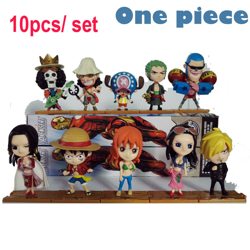 Anime One Piece 10pcs / set 68S New World attēls Luffy Nami Sanji Zoro chopper kombinācija Movie Action modeļi PVC Colletion Toy