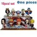 Anime de One Piece 10 unids/set 68S' Nuevo Mundo Figura Luffy Nami Sanji Zoro Chopper Combinación de Película de Acción Modelos PVC Colletion juguete