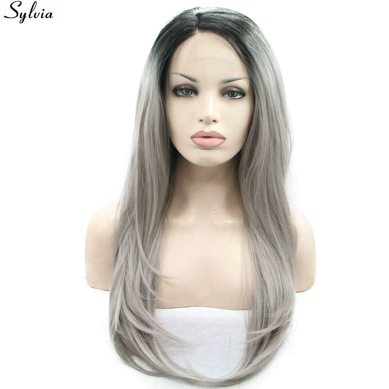 Sylvia Black To Grey Two Tones Ombre Straight Wig Synthetic Lace Front Wigs Heat Resistant Fiber Hair For Women