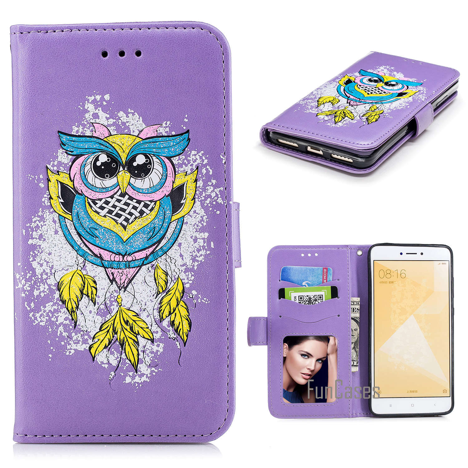 For Xiaomi Redmi NOTE 4X Case Colourful Painting Style Owl Bird PU Case For Xiaomi Redmi NOTE 4X Full protection Phone case