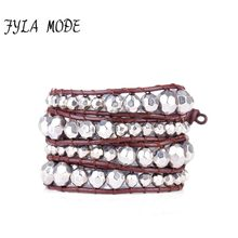 Fyla Mode Unique Faceted CCB Black Silver Beads Four Leather Wrap Bracelets Wholesale Handmade Bohemian Vintage Weaving Bracelet(China)
