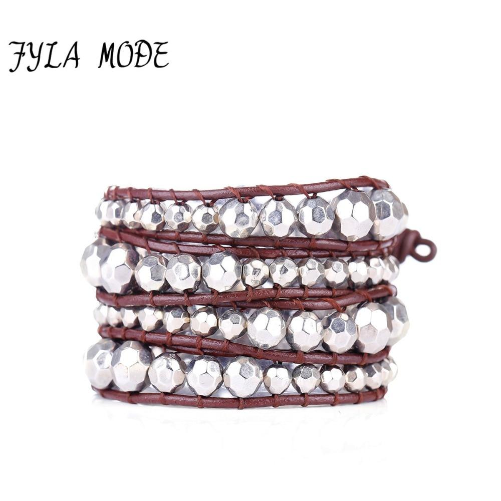 Fyla Mode Unique Faceted Ccb Black Silver Beads Four Leather Wrap Bracelets  Wholesale Handmade Bohemian Vintage
