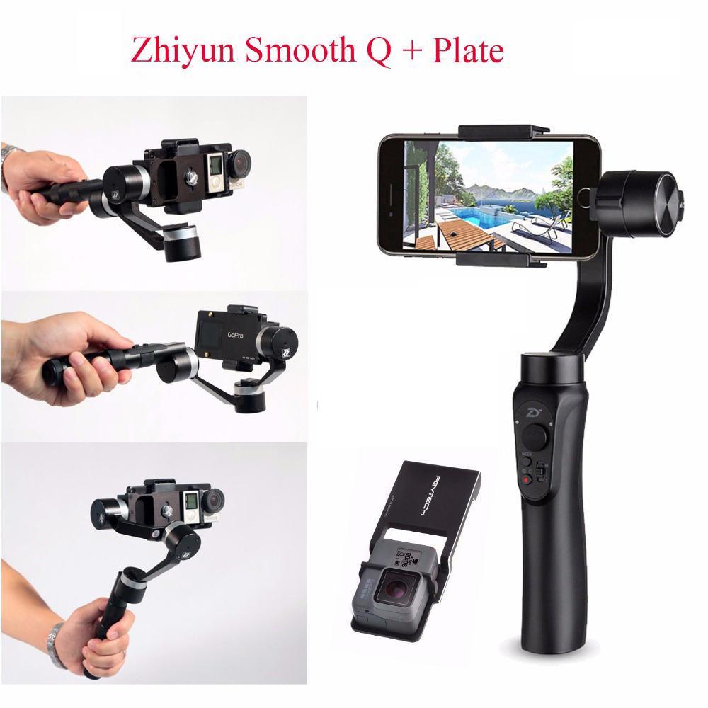 Zhiyun Smooth Q Handheld Gimbal Stabilizer + Bag+ Plate for Smartphone/Action cameras,3-Axis Handheld Gimbals for iphone x cam sight2 2 axis smartphone handheld stabilizer mobile phone brushless gimbal with bluetooth for iphone samsung xiaomi nexus