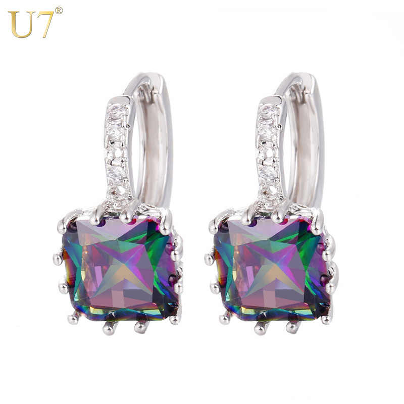 U7 Luxury Cubic Zirconia Earrings Silver/Gold Color CZ Crystal Hoop Earrings For Women Jewelry E499
