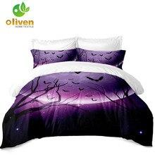 Purple Starry Bedding Set 3D Moon Night Duvet Cover Halloween Design King Queen Pillowcase Home Decor D45