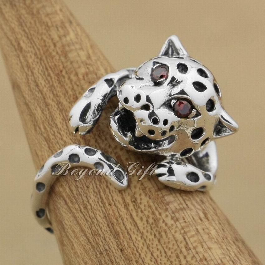 Bagues pour femmes 925 argent Sterling léopard rouge CZ yeux mode bague 9K002 taille libre 6 ~ 9.5