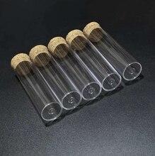 50 pçs/lote 25x95mm tubo de teste plástico de fundo plano com rolhas de cortiça para tipos de produtos vidreiros de laboratório