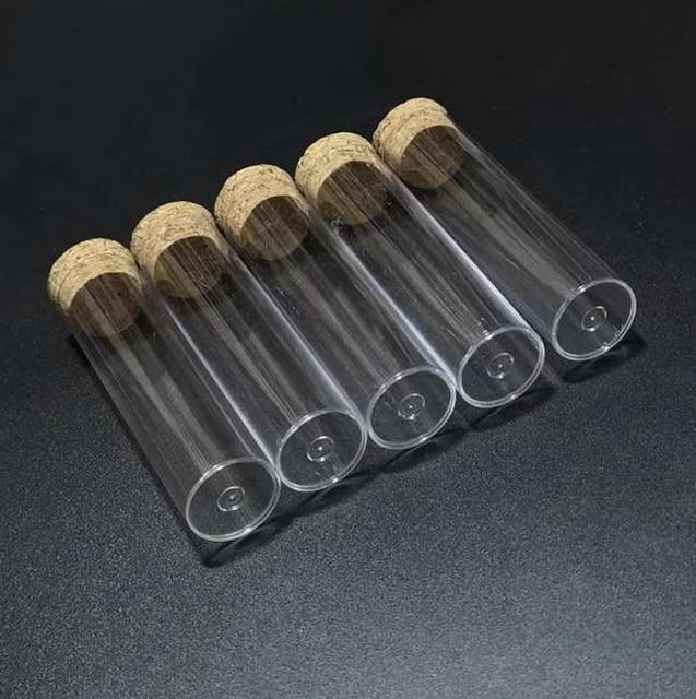 50 stks/partij 25x95mm Vlakke bodem Plastic Reageerbuis met kurk voor soorten van Laboratorium glaswerk