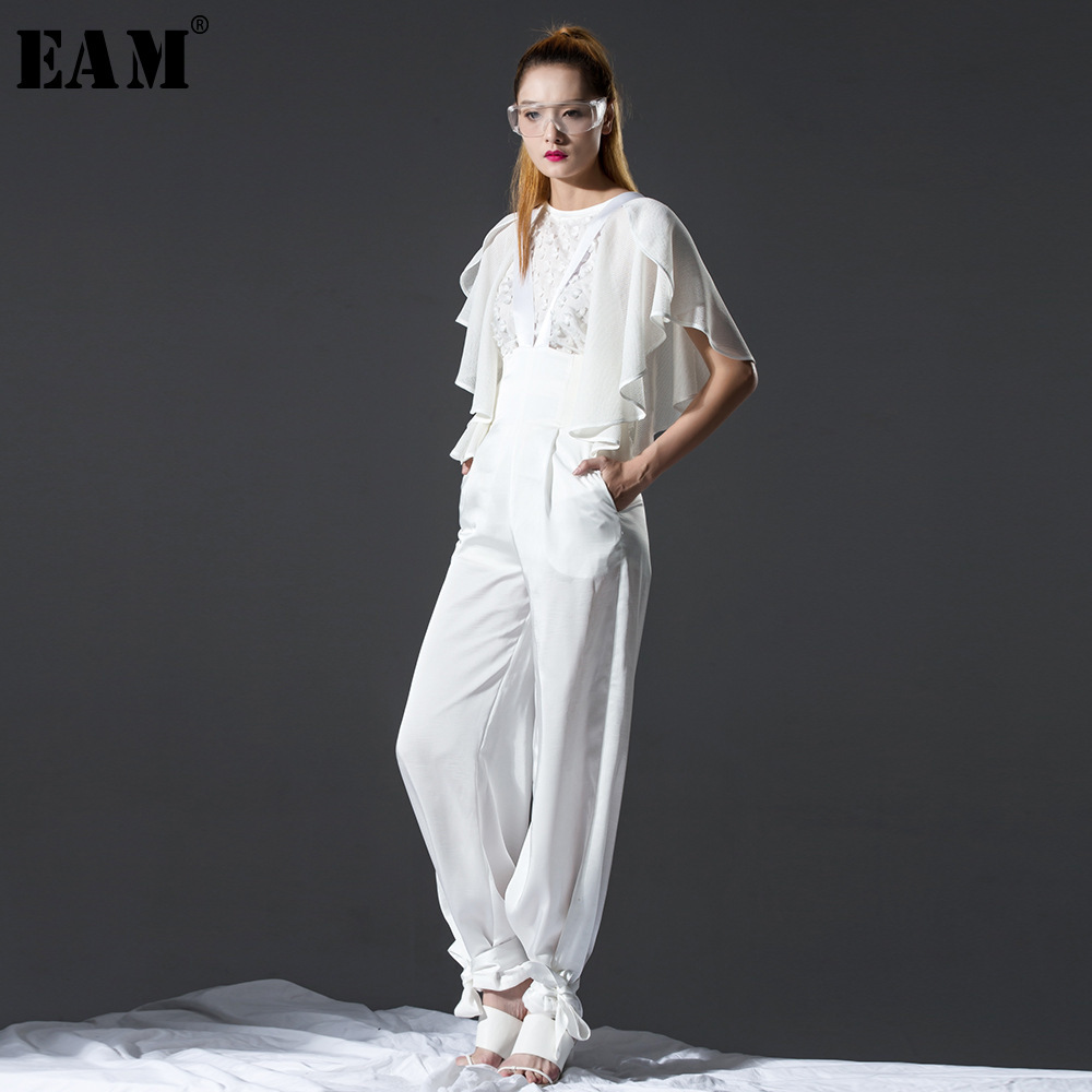 [EAM] Customize 2019 New Spring Strapless Black Loose Long Wide Leg   Jumpsuits   Women Pants Fashion Tide AZU127