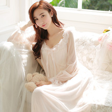 Princess nightgown female long-sleeve vintage royal lace sexy dress one-piece aesthetic lounge sleepwear