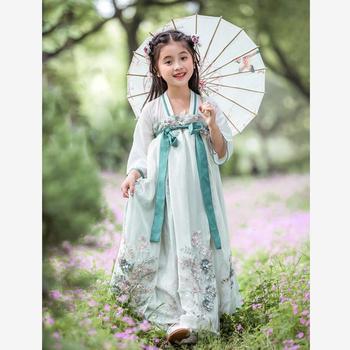 Платье принцессы в китайском стиле для девочек; детские танцевальные костюмы с кружевной вышивкой; народное платье династии ханьфу Тан; дет...