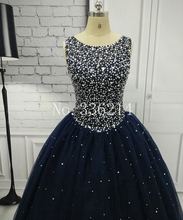ANGELSBRIDEP Navy Blue Quinceanera Dresses for 15 years Backless Beaded Tulle Ball Gown Vestidos De 15 Anos Formal Party Gown