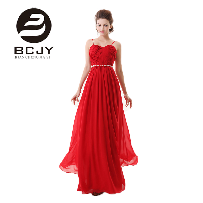 Buy A Line Sweetheart Spaghetti Strap Chiffon Rhinestone Red Long Evening Dress 2019 New Arrival Formal Dresses Custom Made Vestidos for only 165 USD