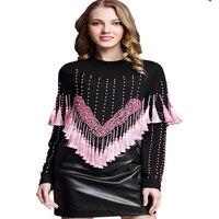 2017 Nowych Moda T-shirty Dla Kobiet Z Długim Rękawem Krótkie Topy Pomponem koszulka Koralikami Crop Top Panie T Shirt Czarny Różowy Zipper Fly