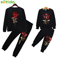 Sotida Family Matching Outfits 2016 New Fashion Winter Style Mother And Daughter Long Sleeve Rose Floral Sweatshirt+Pants 2Pcs
