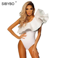 Sibybo One Shoulder Ruffles Bodysuit Sexy Rompers Black White Red Vintage Hot Silm Bodycon Jumpsuit Barboteuse