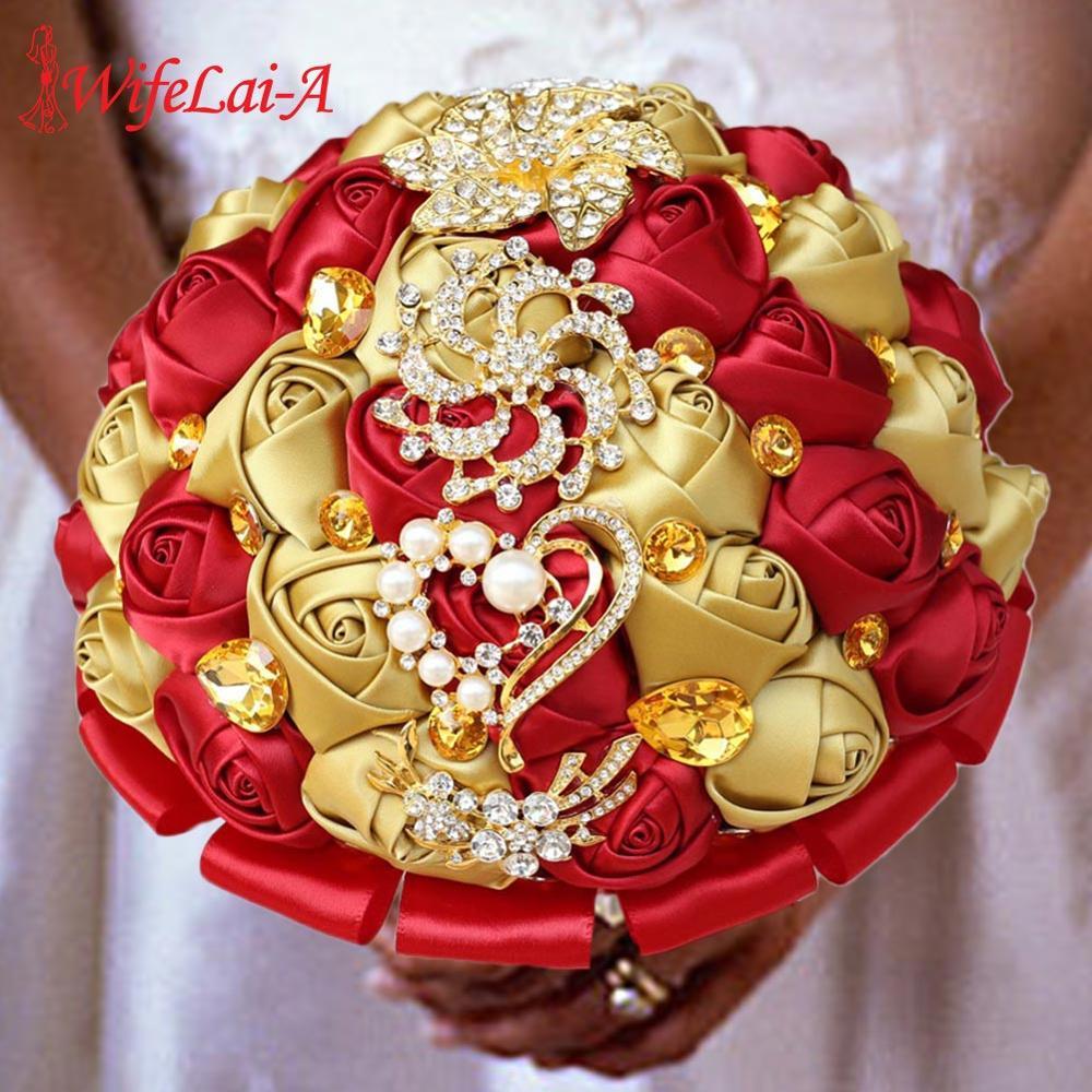 WifeLai-A Gold Diamond Bridal Bouquets Wedding Bridal Crystal Silk Red Rose Flowers Bridal Satin Bouquet Marriage In Stock W227Q