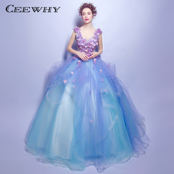 CEEWHY Colorful Ball Gowns Beading Evening Dresses Vestido Longo Long Formal Dress for Prom Abendkleider Appliques Evening Gown