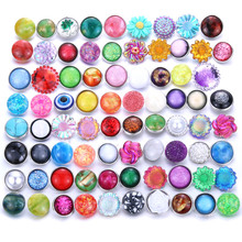 10pcs/lot Mixed Style Snap Jewelry Colorful Crystal Round 18mm Resin Buttons fit Bracelet Bangles 0737